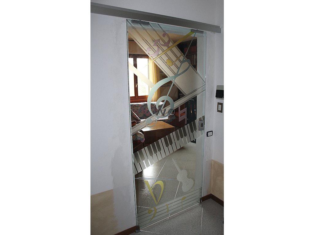 Musica porte in vetro vetri d 39 arredo vetreria for Porte d arredo in vetro